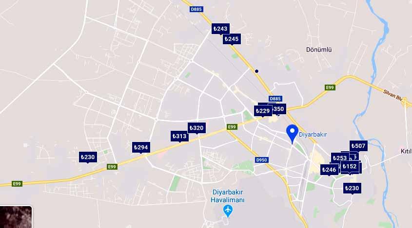 diyarbakır otel konaklama haritası