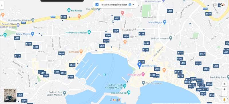 bodrum otelleri haritası listesi