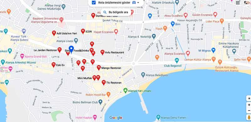 alanya restoran haritası
