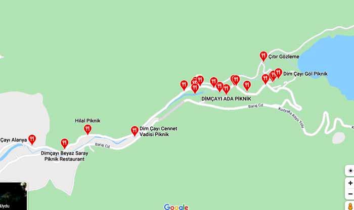 dim çayı kahvaltı ve restoran haritası veğ listesi