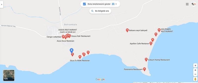 assos restoranları listesi assos antik kenti nerede