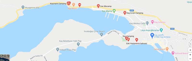 Kaş gezilecek yerler kamp alanları haritası 2020