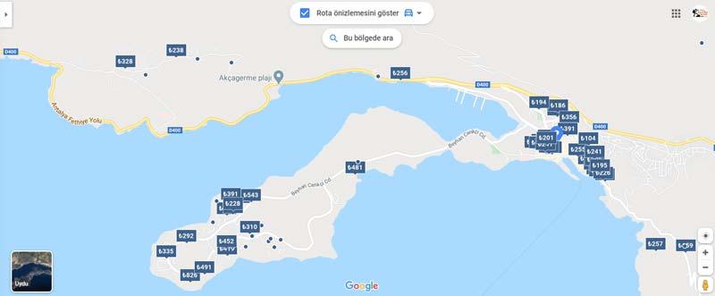 Kaş otel fiyatları listesi ve haritası