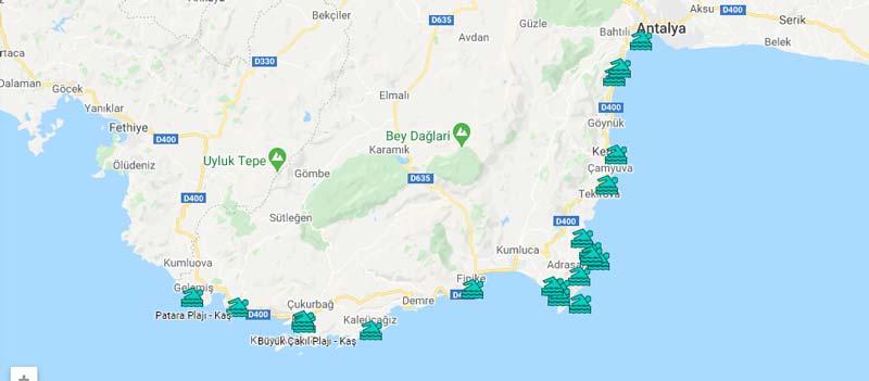 kaş plajları haritası