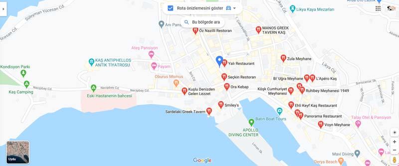 kaş restoranları haritası 2020