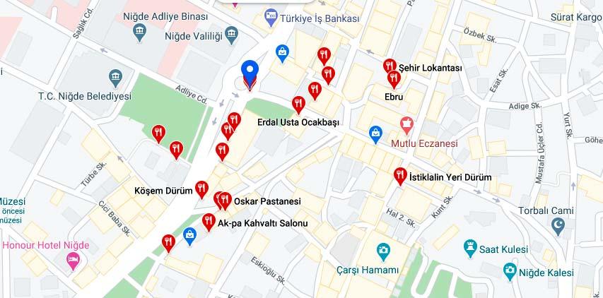 niğde restoranları haritalı listesi niğde gezilecek yerler