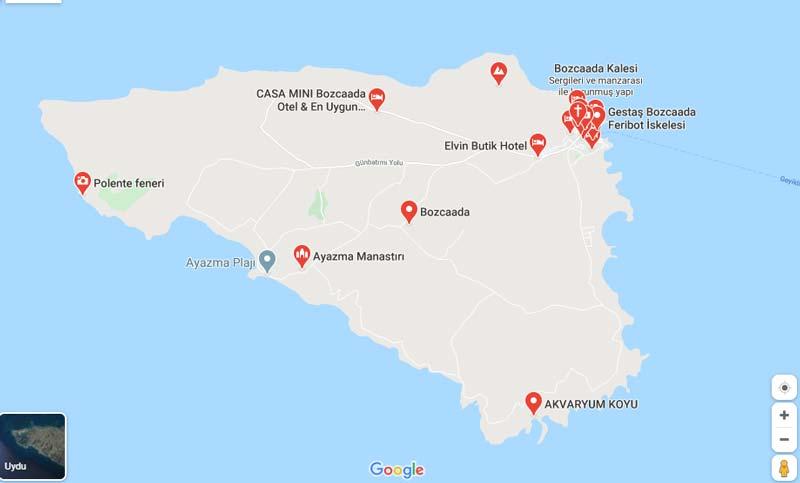 Bozcaada gezilecek yerler haritası