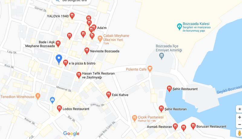 bozcaada gezilecek yerler restoranları haritası