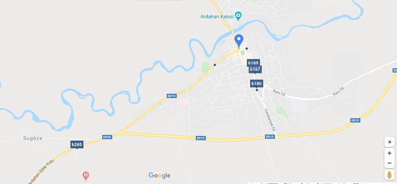Ardahan otel ve konaklama haritası