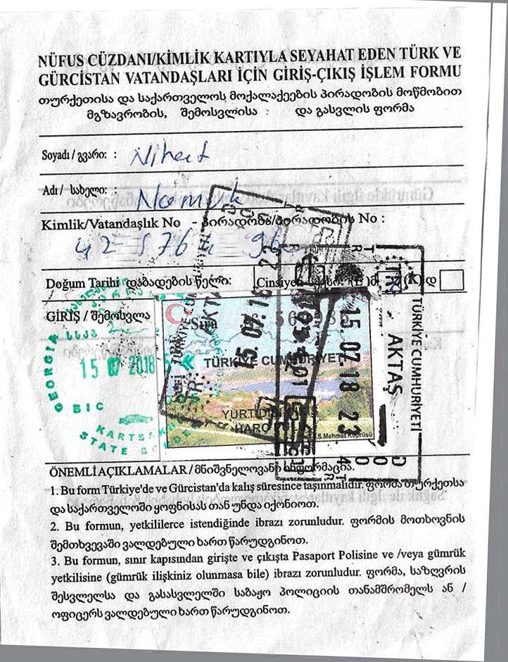 Gürcistan sınır kapısı geçiş belgesi