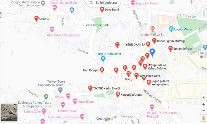 Ürgüp restoran haritası ve listesi 2020
