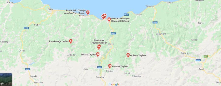 Giresun yaylaları haritası ve isimleri