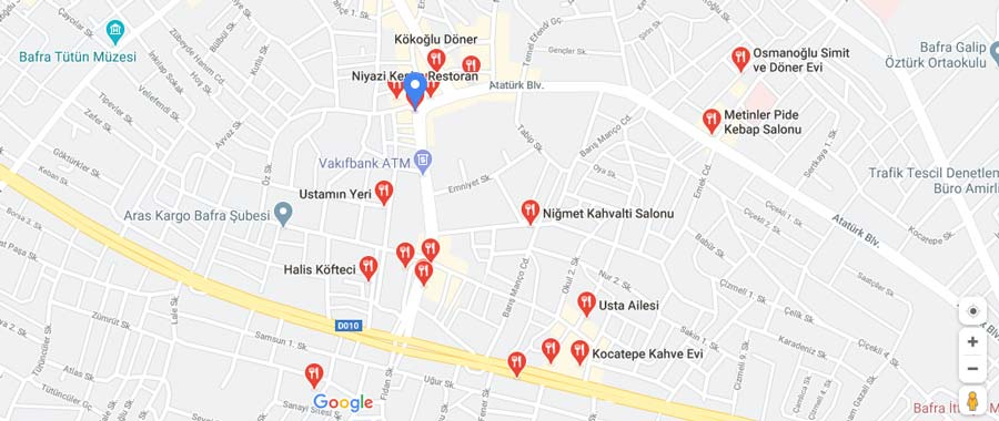 Bafra restoranları haritası