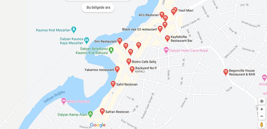 dalyan iztuzu restoran ve lokantaları haritası