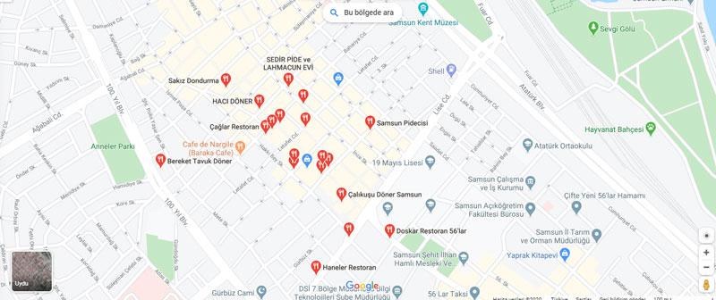 samsun restoranları haritası
