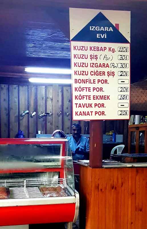 Erfelek restoran fiyatları 2018