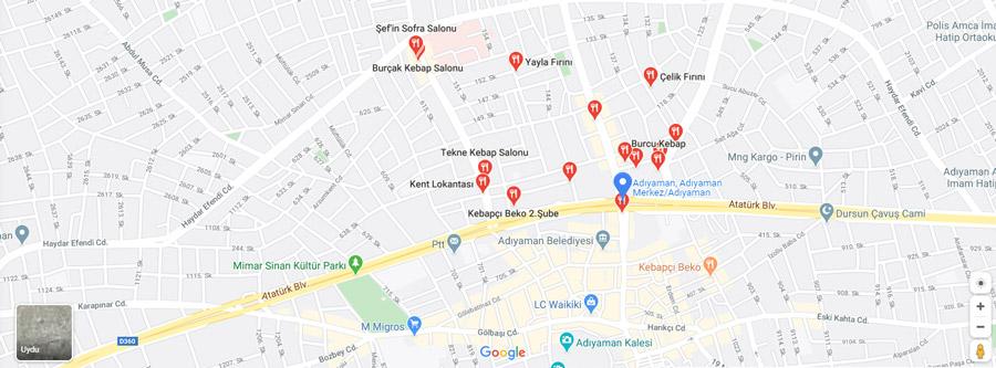 adıyaman restoran haritası
