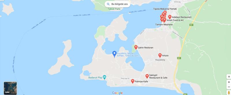 ayvalık restoranları haritası
