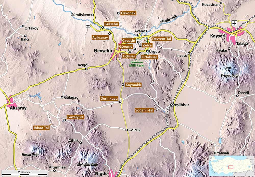 kapadokya gezi haritası