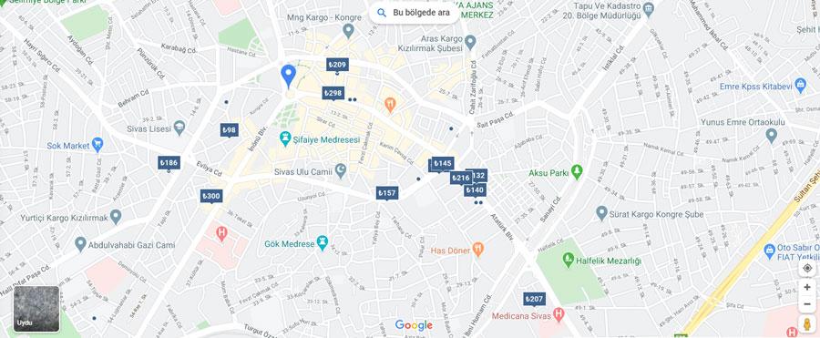 Sivas otelleri haritası
