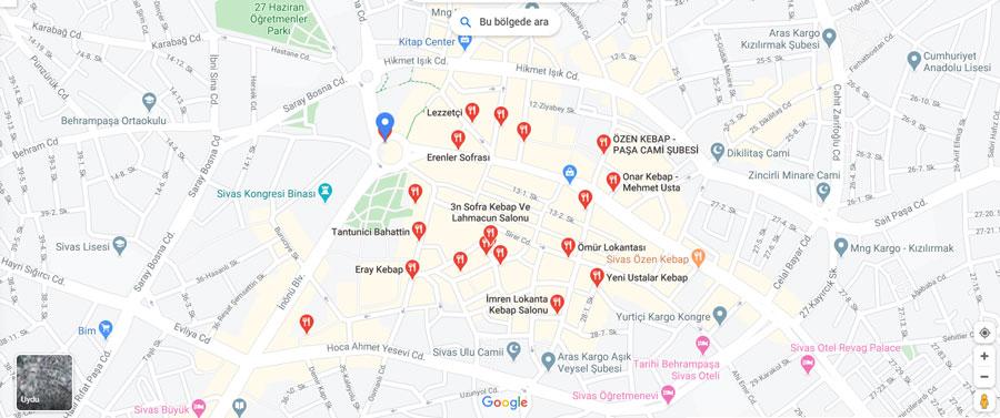 Sivas restoran haritası