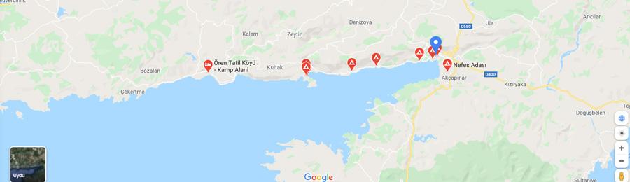 akyaka kamp alanları haritası 2020
