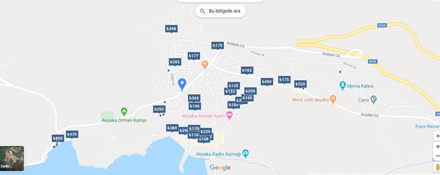 akyaka otelleri haritası