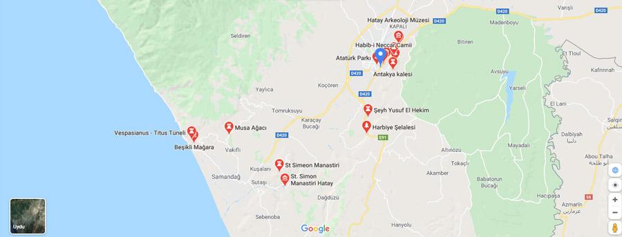 hatay gezilecek yerler haritası