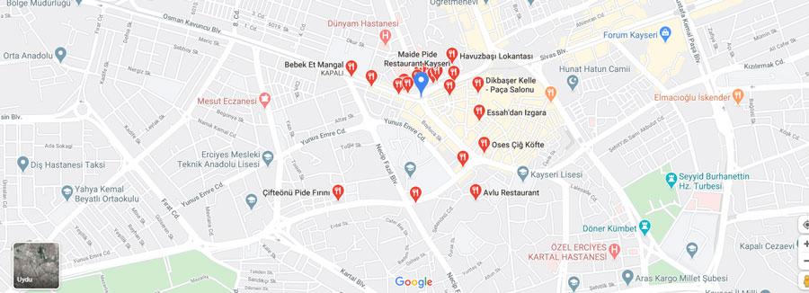 Kayseri gezilecek yerler haritası restoran