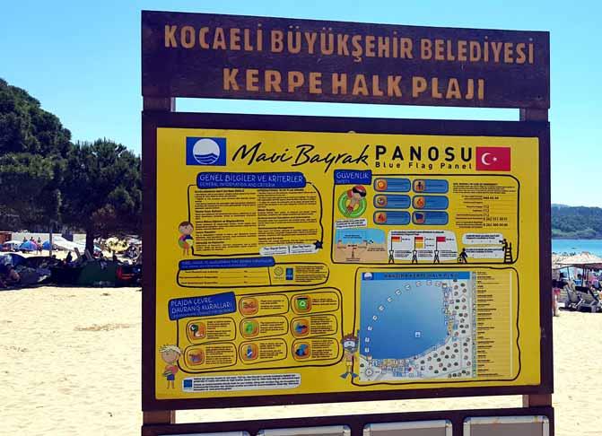 Kerpe Mavi bayraklı plaj tablosu