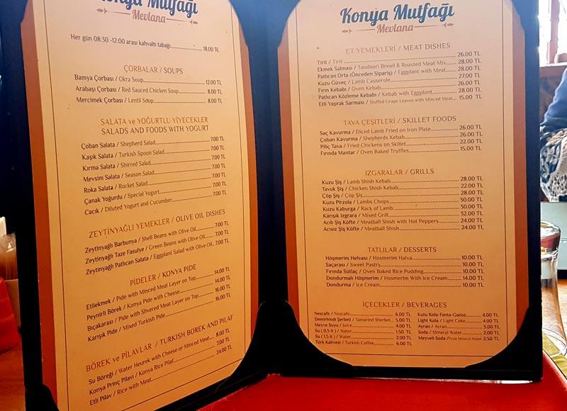 konya yemekleri fiyat listesi